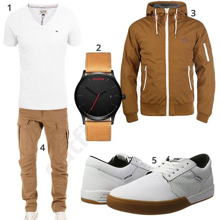Weiß-Beiger Herren Outfit mit MVMT Armbanduhr, Tommy Hilfiger V-Neck Shirt, Solid Übergangsjacke, Yazubi Cargo-Chino und Supra Hammer Schuhen.