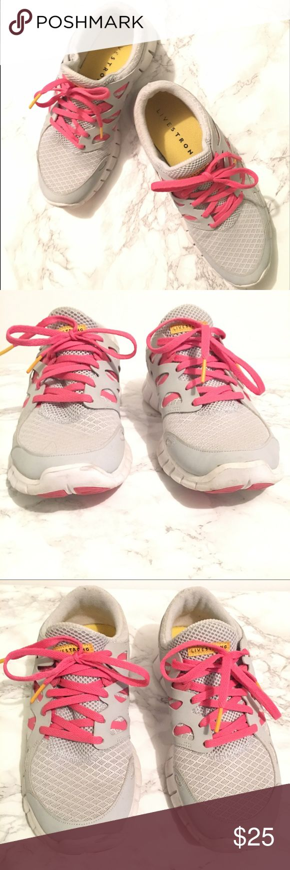 Nike Livestrong Sneakers Nike+ Gray slip on Nike Livestrong sneakers with pink accent.  Lightly worn. Sneakers show usage but in fairly good condition.  Color may be slightly different than image.  Size 9. Nike Shoes Sneakers