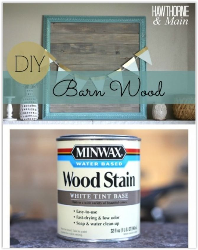 How To DIY The Barn Wood Look ... use bender board.  It is typically used in gardening.  It makes the perfect barn wood…… It is only about 3/8″ thick so it is really lightweight. The stain used for this project is a wood stain by Minwax with a white tint base. The color is called Slate. This is a water based stain, which means it is a lot like paint .... #DIY #woodstain #barnwood #wood #benderboard #howto #stain #furniture #decor #crafts