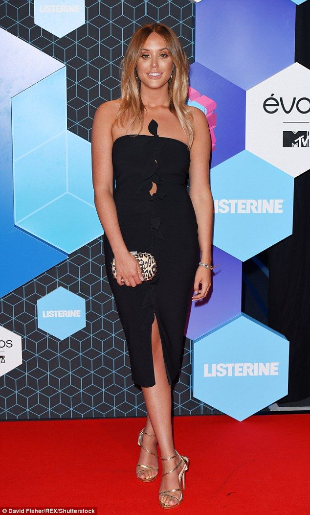 Red carpet run-in: Geordie Shore's Gary 'Gaz' Beadle finally came face-to-face with his ex-girlfriend Charlotte Crosby at the Rotterdam based ceremony on Sunday night