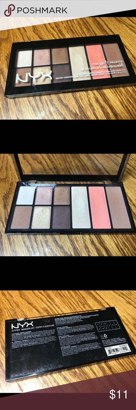 Nyx the go-to palette Nyx the go-to palette in the shade wanderlust. Used 1x. Retails $16.99 on the ulta website. Will take lower via 🅿️🅿️. NYX Cosmetics Makeup Eyeshadow