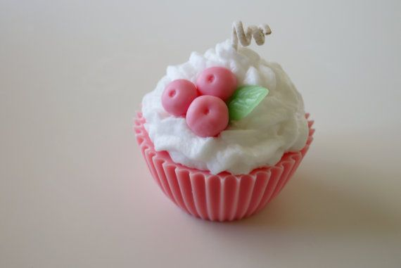 Jumbo Strawberry Shortcake scented cupcake candle on Etsy, $12.99