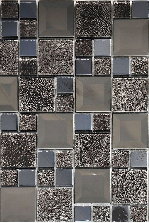 Black Glass And Stainless Steel Mosaic Tiles For Countertop