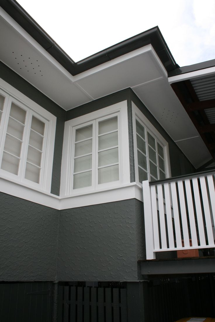 Resene Gravel Weatherboards With Resene Double Gravel Guttering And Resene Half White Pointer