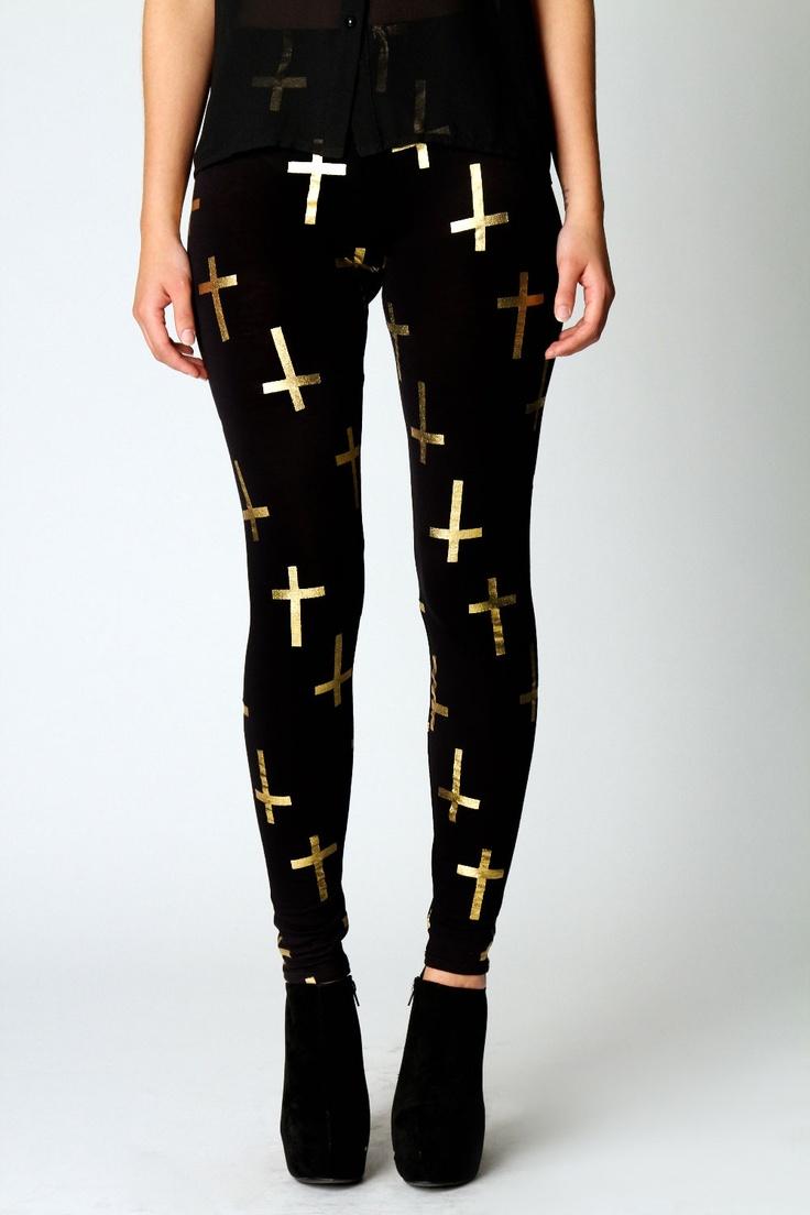Leela Gold Foil Print Cross Leggings
