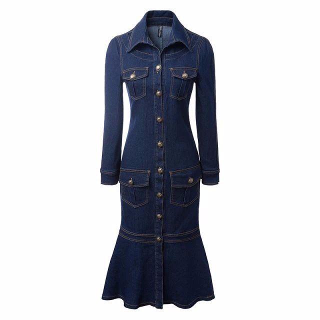 2015 otoño y el invierno denim vestidos largos para mujeres con botones delanteros ropa delgados de ajuste de lujo trajes de vestir falda de cola de pescado-Vestidos casual-Identificación del producto:60211891194-spanish.alibaba.com