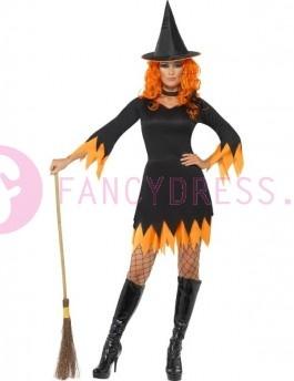 Dit Halloween heks kostuum bestaat uit: Een zwarte en oranje jurk met gekartelde randen rond de rok en de mouwen. Een zwarte en oranje hoed Een zwart halsbandje.