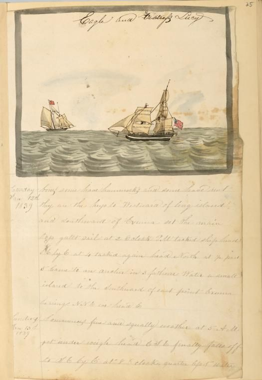 """Hand watercolor painted """"Eagle and Lucy"""" [Two ships at sea flying American flags.] 1838-183, from Diary : Voyage of schooner Ajax from Philadelphia to Baltimore, Havana , Santiago and Cuba, kept by William H. Meyers."""