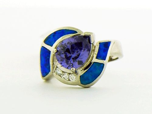BlueOpal and Purple Amethyst Ring