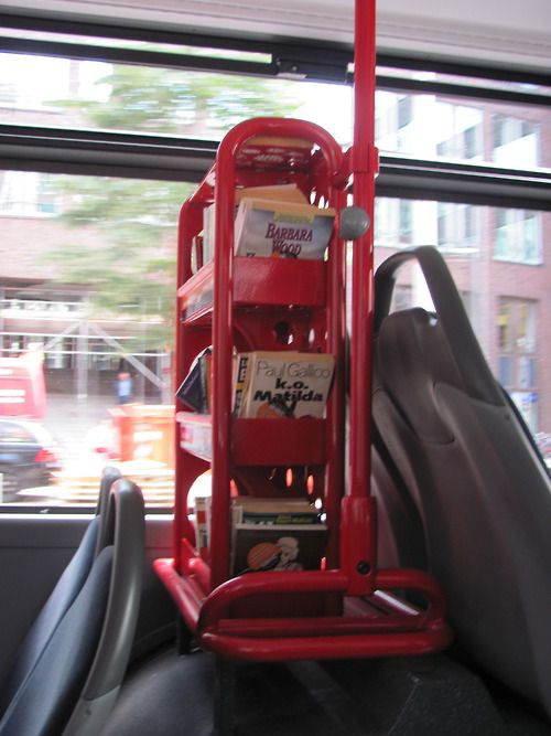 In Hamburg they have bookshelves in the busses and people can take a book and read while going somewhere. I find this a great idea.