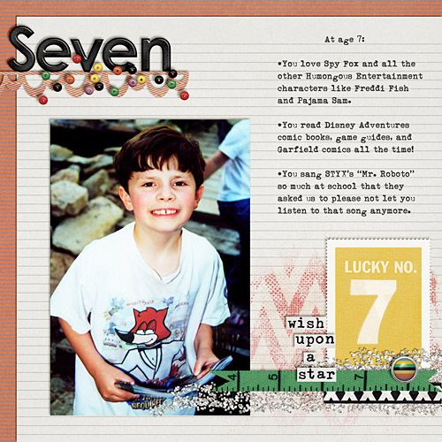 Layout by Katie. Supplies: Superstitious by Pink Reptile Designs; Sidestep (template) by Scrapbook Lady; Fonts: The Dirty Dame.