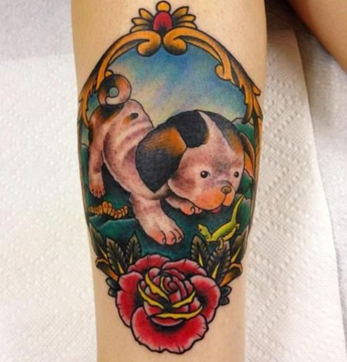 puppies tattoos 13 precious puppy tattoo pictures 9604