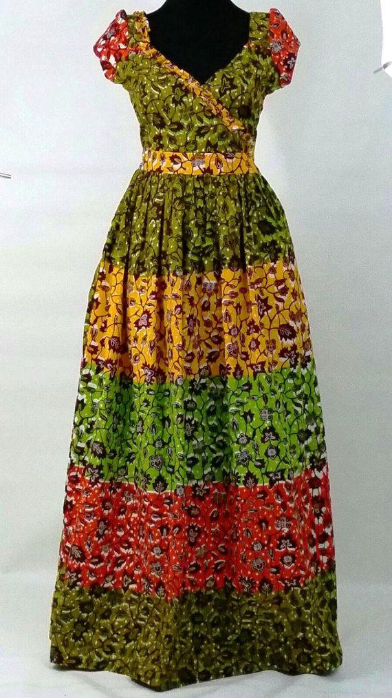Made with Hollandais Vlisco wax.   Material: quality 100% cotton. African Print  Maxi Dress,Ankara maxi dress,mixed print dress (affiliate)