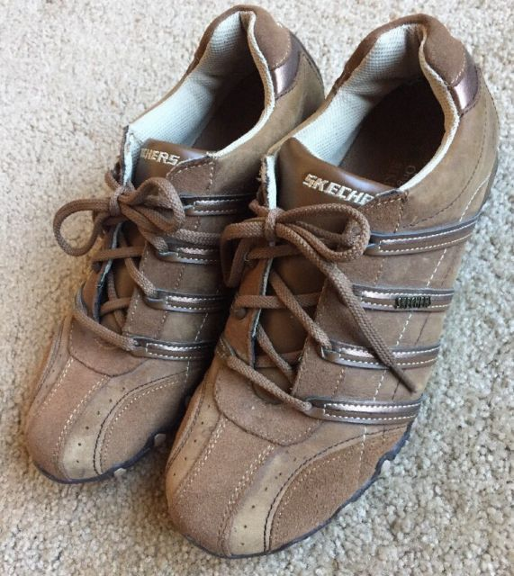 SKECHERS BIKERS Women's Brown Soft Leather Suede Low Top Shoes Size 9 | eBay