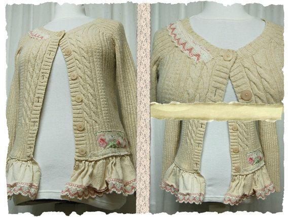 Up to Size Medium Mori Girl Style Sweater Artsy Romantic Shabby Boho Chic Upcycled Women's Clothing by Primitive Fringe