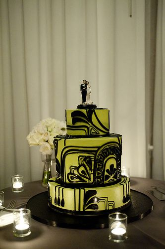 Art Deco Green & Black Wedding Cake; one of my faves, minus the cake topper. Like something more abstract or something more unique to the deco aesthetic...