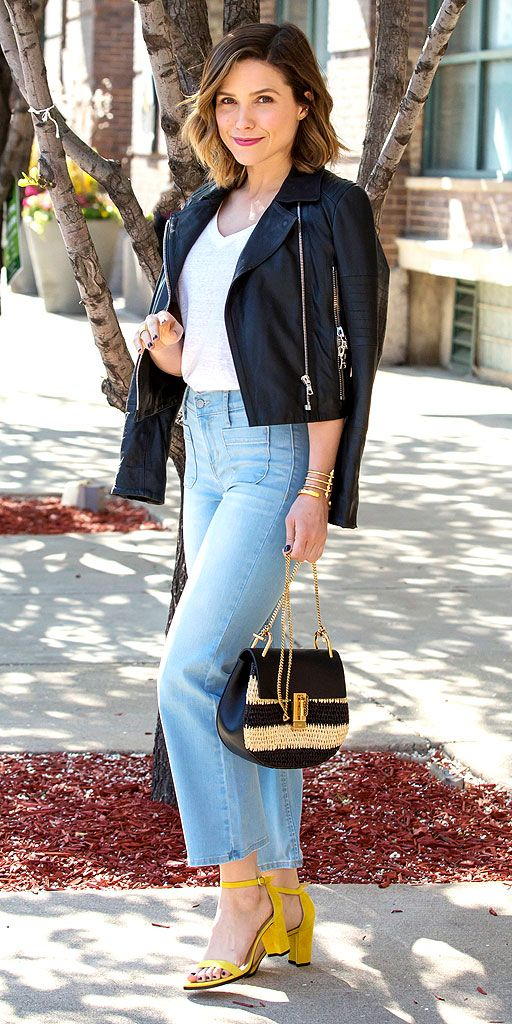 SOPHIA BUSH in cropped denim jeans and yellow heels