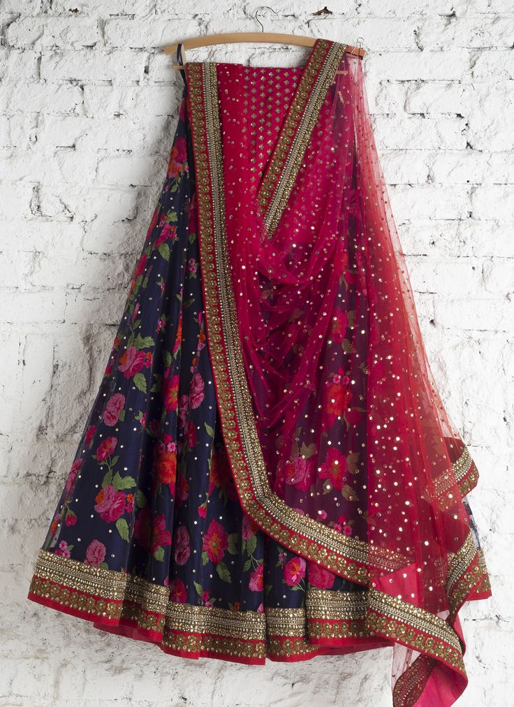 Lehengas by SwatiManish : Floral blue lehenga with red and pink dupatta