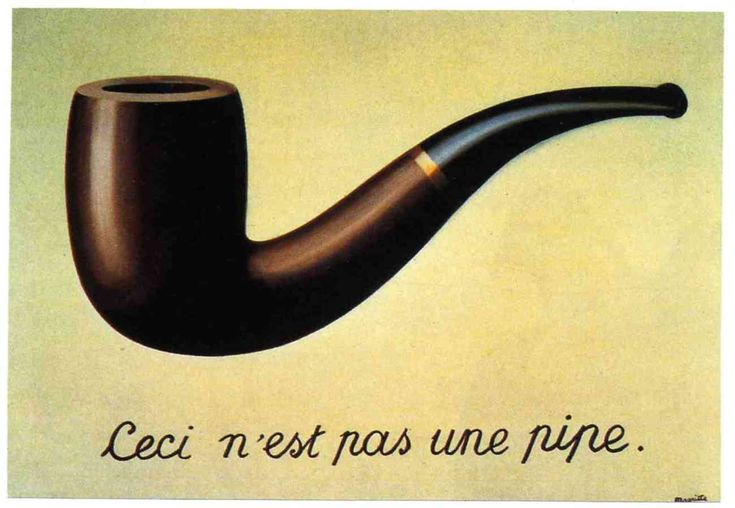 """Rene Magritte """"This is not a pipe"""" (it is a painting of a pipe). Magritte was a Surrealist who was interested in making witty, thought provoking images about art."""