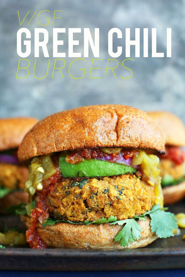 VEGAN GLUTEN FREE Green Chili Veggie Burgers! Tender, loaded with flavorful and SO satisfying! #vegan #glutenfree #healthy #recipe #minimalistbaker