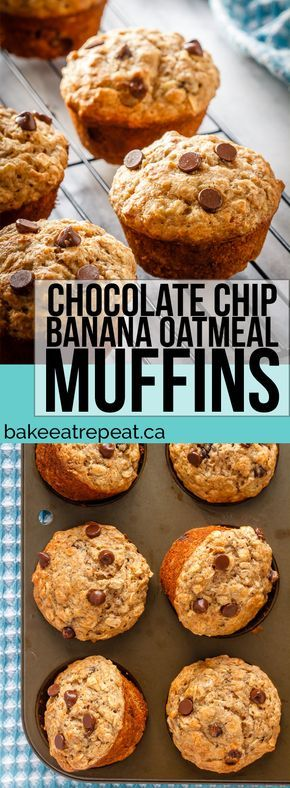 These healthier chocolate chip banana oatmeal muffins are super easy to make. Filled with oats, whole wheat flour, and bananas - they're perfect for breakfast! #healthy #oatmeal #breakfast #snack #banana #muffins
