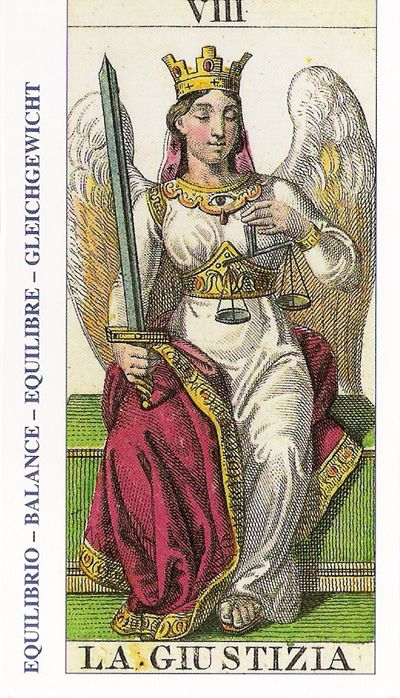 08-Cartas de Tarot - La Justicia-Tarot, Astrología, Horóscopos, Metirta
