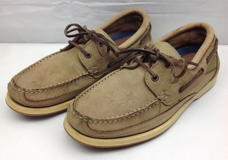 DOCKERS Mens 9.5 Amazonas Tan Brown Boat Shoe Lace Up Loafers #DOCKERS #BoatShoes