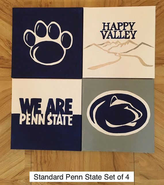 """Show your Penn State pride! This set of four 12x12 acrylic paintings on stretched canvas features the lion paw, """"We Are"""" message, lion logo, and"""