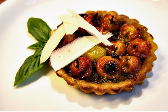 CHERRY TOMATO AND BALSAMIC ONION TARTLETS