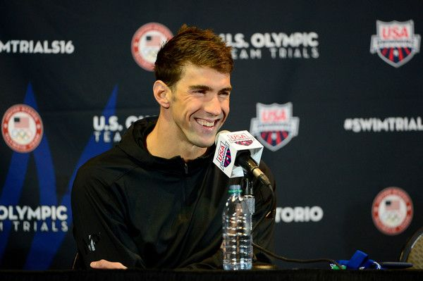 Michael Phelps Photos Photos - Michael Phelps of the United States speaks at a press conference during Day Four of the 2016 U.S. Olympic Team Swimming Trials at CenturyLink Center on June 29, 2016 in Omaha, Nebraska. - 2016 U.S. Olympic Team Swimming Trials - Day 4