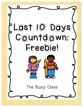 Add excitement to the last 10 days of school using these fun ideas (most are completely free for you to do with your students).- Includes 13 ideas for you to choose from, do one each day. - Includes 3 versions of writing paper for two of the activities.- Directions for ways to use in your classroom.I hope you and your students enjoy these fun activities.