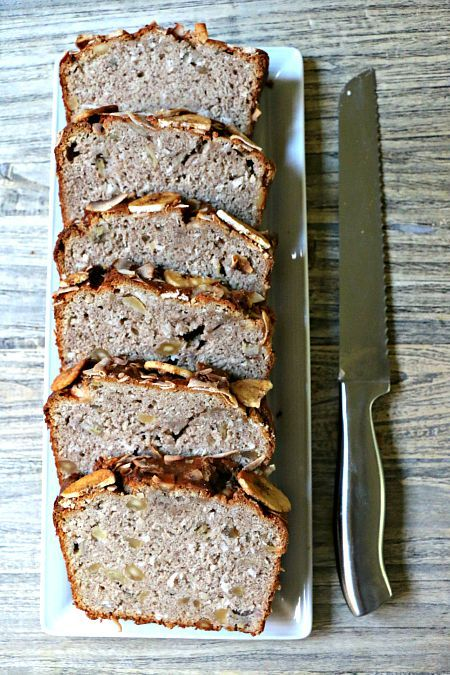 This Tropical Banana Nut Bread features coconut, macadamia nuts, cardamom, nutmeg and cinnamon.  Make two loaves, as the first one will quickly disappear!
