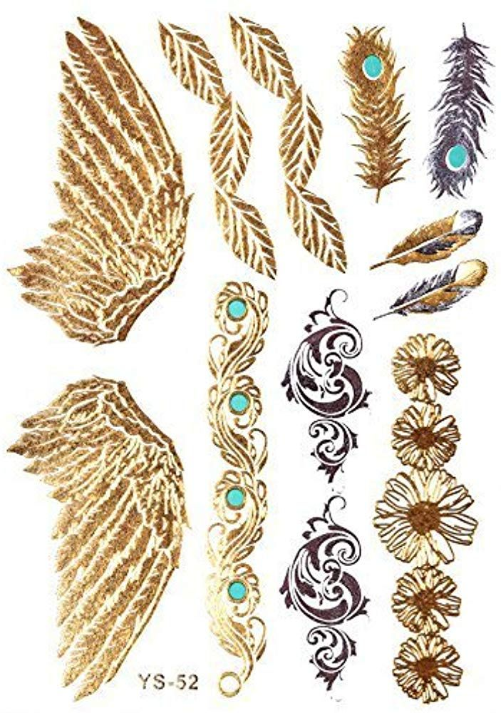 GOLD Tattoo Flash Tattoos Haut Tattoos Flügel Federn Ornamente toller Haut Schm…