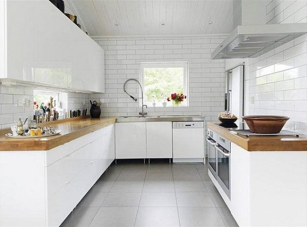 Again, white kitchen, wood countertops: Kitchens Design, Butcher Blocks, Kitchens Ideas, Kitchens Counter, White Subway Tile, Wood Countertops, White Cabinets, Kitchens Cabinets, Modern White Kitchens