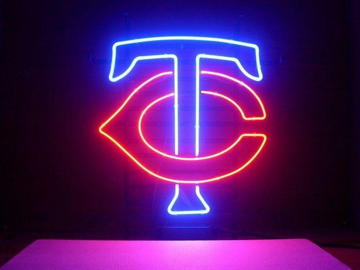 NEW MLB MINNESOTA TWINS BASEBALL REAL GLASS NEON LIGHT BEER BAR PUB SIGN 1221