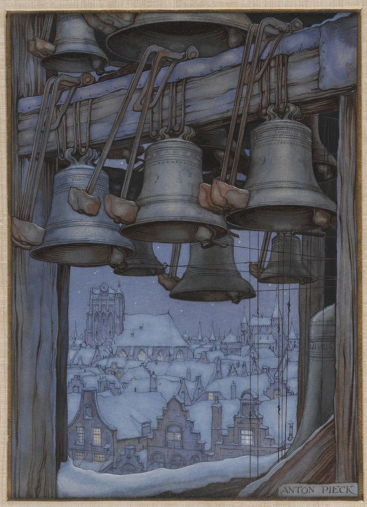"""Church Bells""--Artwork by Anton Piek (1895-1987). Dutch painter, artist and graphic artist."
