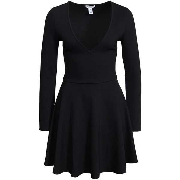 Nly One V-Neck Skater Dress ($49) ❤ liked on Polyvore featuring dresses, black, party dresses, womens-fashion, v neck dress, longsleeve dress, tall dresses, deep v-neck dress and black dress