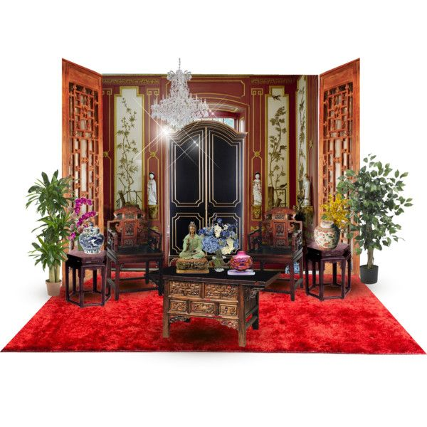 Lucky Chinese Red and Black Color by wasupfirefairy on Polyvore featuring interior, interiors, interior design, home, home decor, interior decorating, Linie Design, Michael Trimpol and Nearly Natural