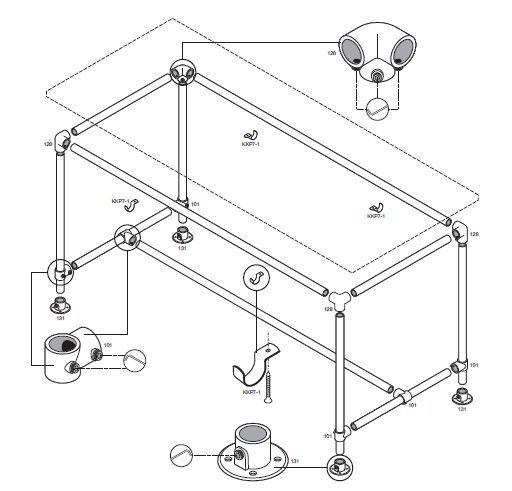 Tafel onderstel van steigerbuizen en buisverbinders, gratis bouwtekening.