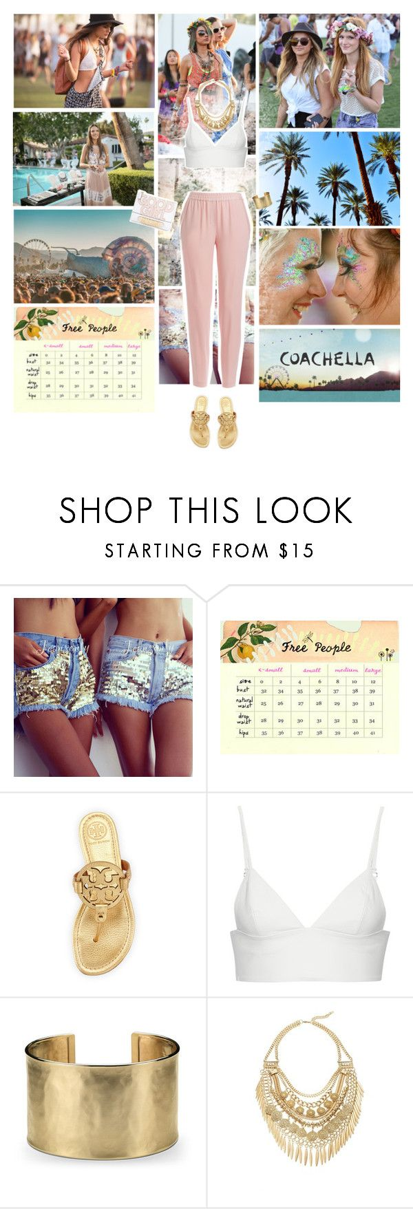 """""""Take me to Coachella <3"""" by mara-petcana ❤ liked on Polyvore featuring Levi's, Free People, Moschino, Tory Burch, T By Alexander Wang, Blue Nile, Cara, DKNY, coachella and coachellastyle"""