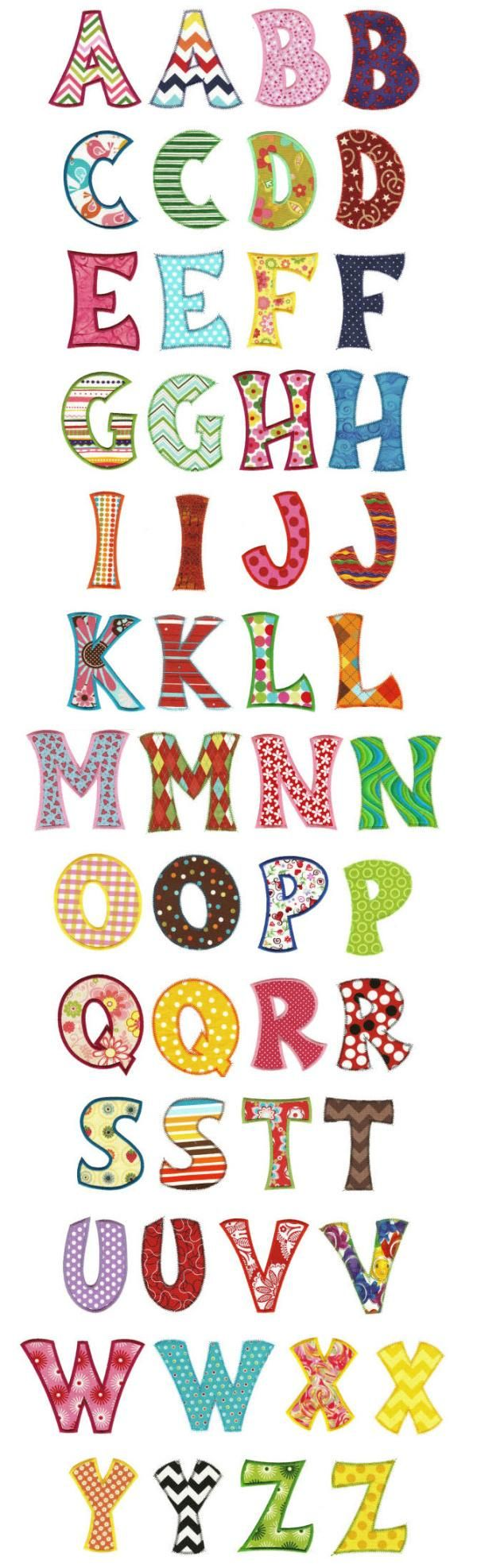 Romeo Applique Alphabet Is A Fun And Whimsical Applique Alphabet Suitable For Boys Or Girls. Each Letter Comes In A Satin And Zigzag Finish.