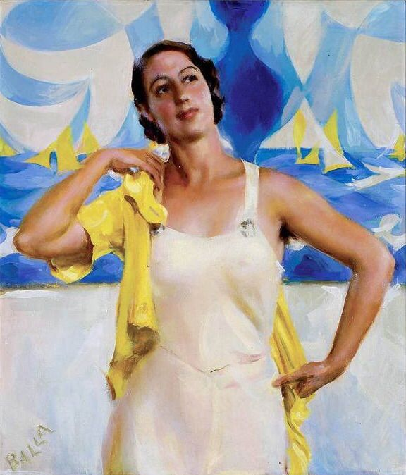 "Giacomo Balla (Italian, 1871-1958) - ""Figlia del sole"" (Daughter of the Sun), 1933 - Oil on board [This painting, painted in Terracina, portrays Luce, the eldest daughter of the artist, in a swimsuit]"