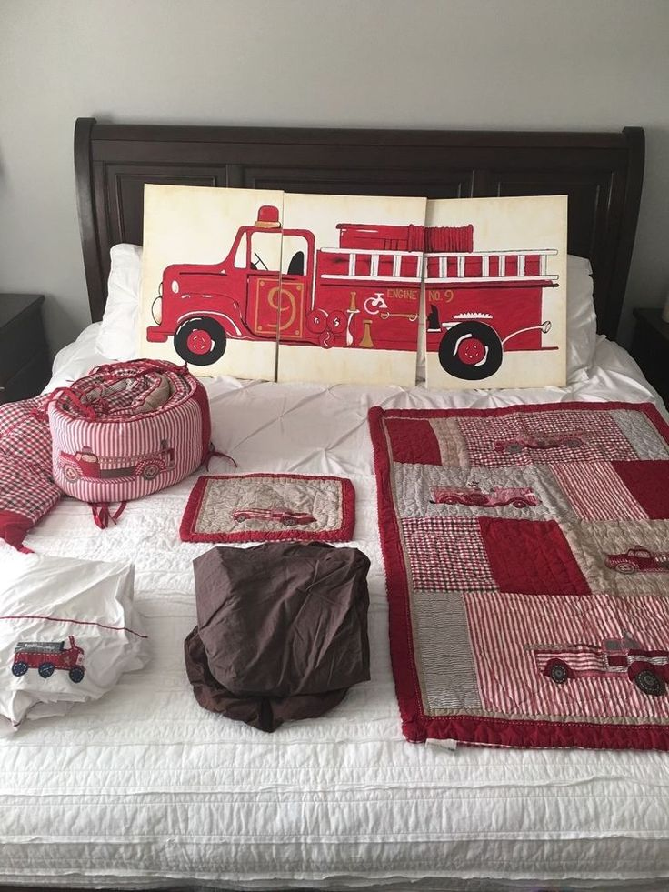 "Pottery Barn ""Jake Firetruck Crib Bedding"" in Baby, Nursery Bedding, Nursery Bedding Sets 