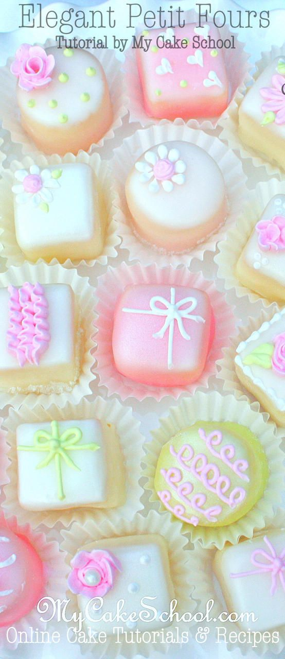 How to Make Elegant Petit Fours! A cake decorating tutorial by MyCakeSchool.com {member section}. Online Cake Decorating Tutorials & Recipes!