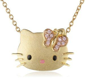 """Hello Kitty by Simmons Jewelry Co. """"Butterfly Kitty"""" Gold Plated with Swarovski Outline Pendant Necklace Hello Kitty. $295.00. Made in China"""