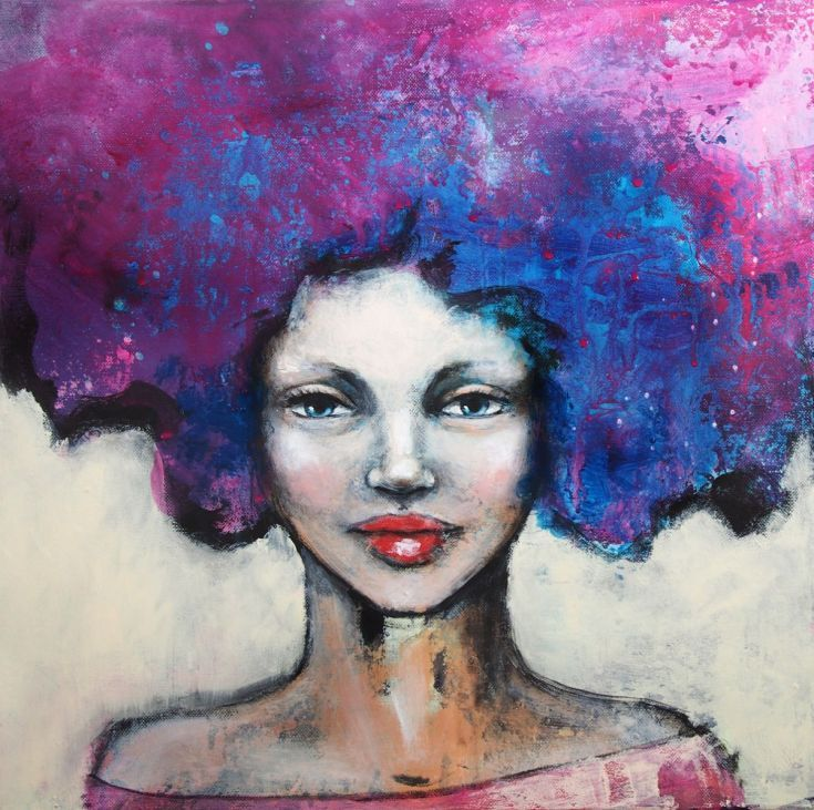 ARTFINDER: Purple & blue  (Free shipping) by Malin Östlund - Portrait of a woman with abstract purple and blue hair.