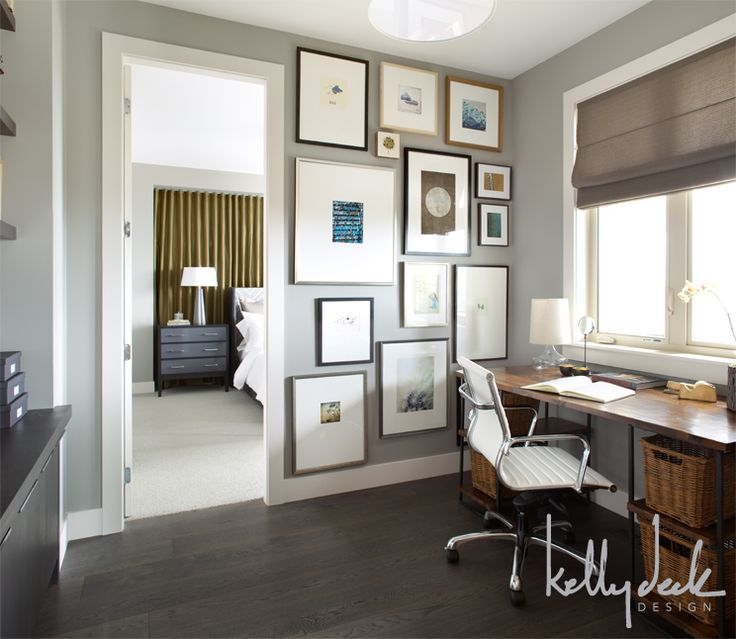 Home Office Paint Color With Dark Wood Floor And Desk
