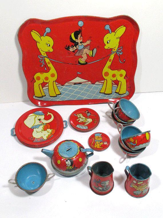 Vintage Ohio Art Lithograph Circus Child's Tea Set - 29 Piece Set - Red - No. 158