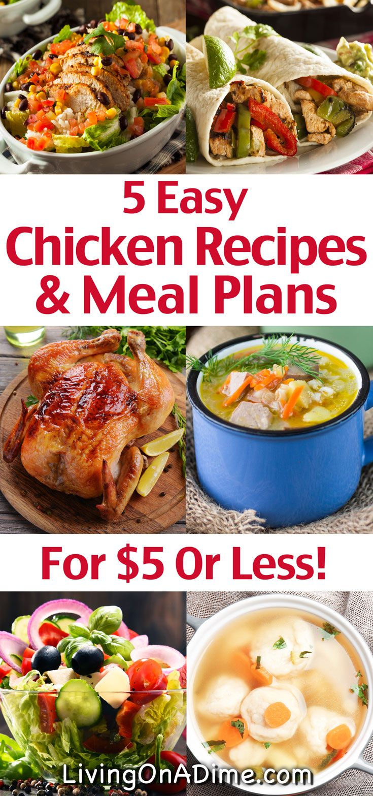 5 Easy Chicken Recipes And Meal Plans For 5 Or Less Easy Chicken Recipes Chicken Recipes Meal Planning