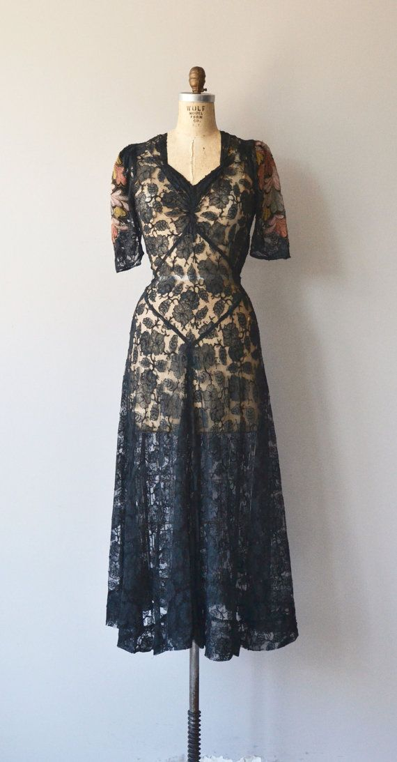 Seraphita dress vintage 1930s dress black lace 30s by DearGolden